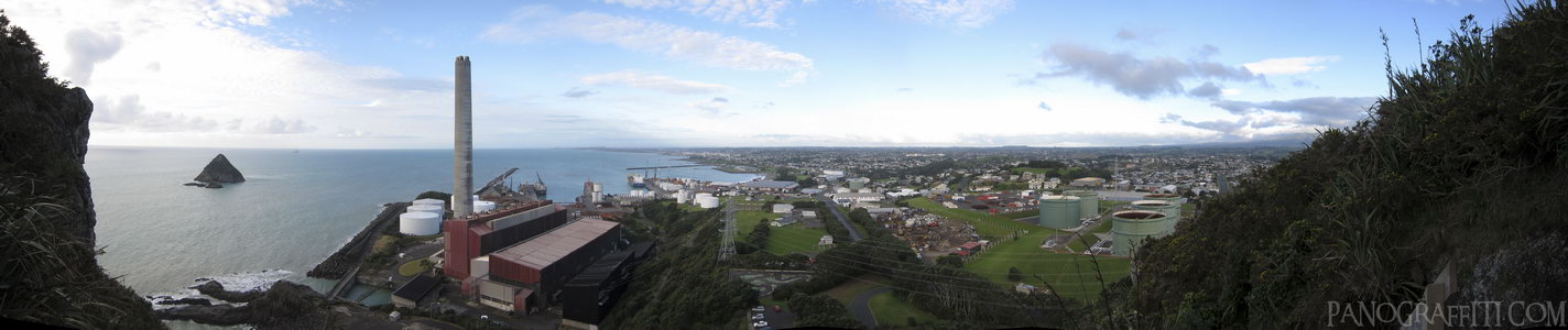 East From Paritutu Rock - A view of New Plymouth from half way up Paritutu Rock