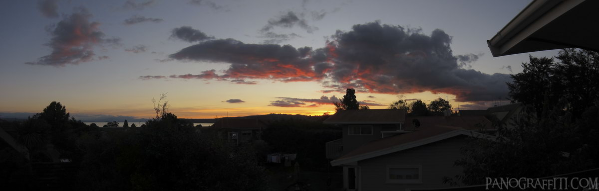 Sunset from Williams Street - My flat in Taupo offered me a panoramic view from my bedroom window