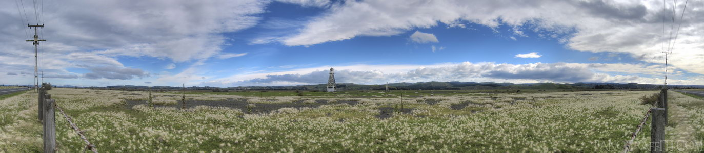 Roadside Field Near Napier in HDR - A small tower stands in a field along the Napier coast