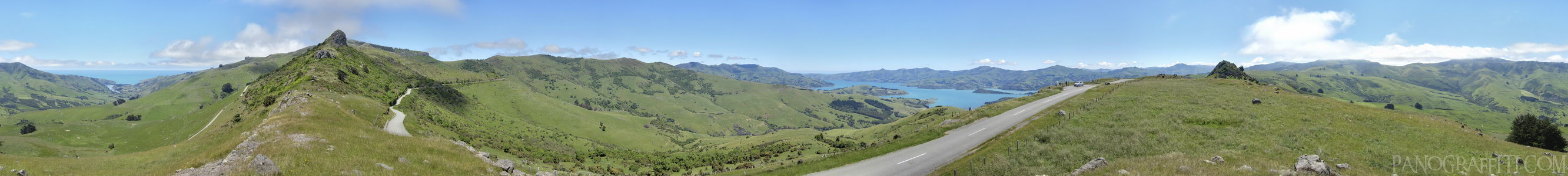 Banks Peninsula from Summit Road - A view of both the Akaroa Harbour and Pacific Ocean is possible from the top of Summit Road.  This 360 degree view is rendered in HDR from bracketed shots.