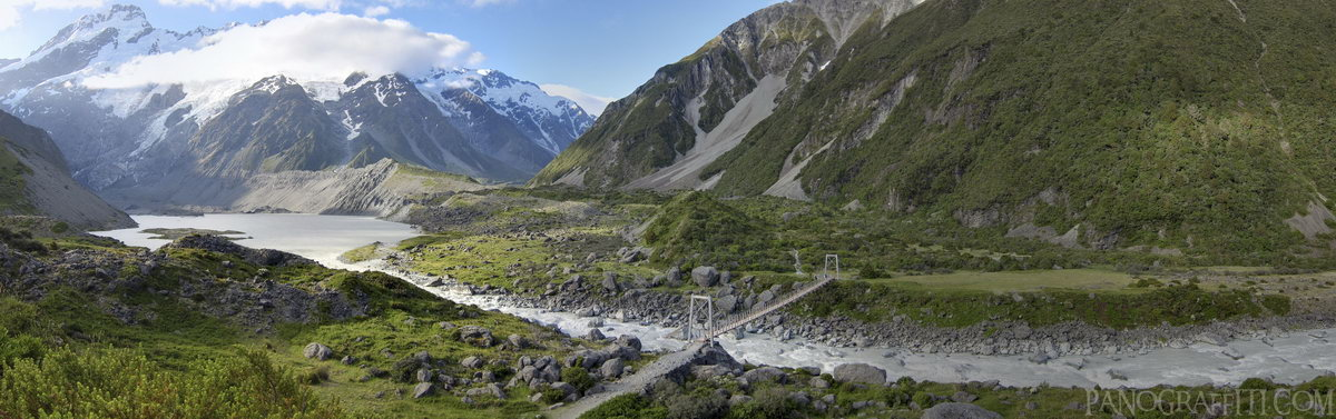 Bridge in Hooker Valley with Mount Sefton and Mueller Glacier HD - Stitched Panorama