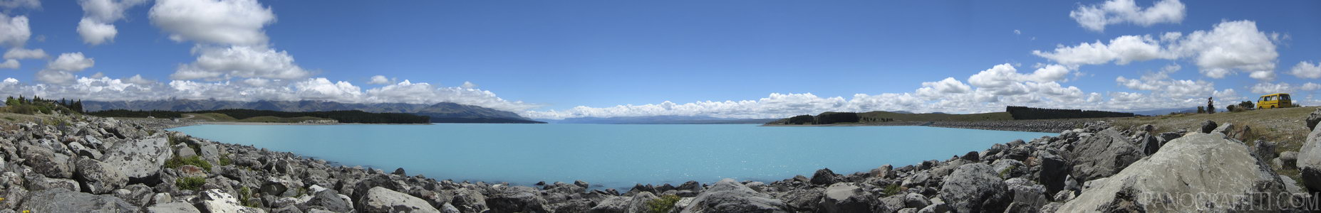 Mount Cook Across A Bright Blue Lake Pukaki - Stitched Panorama