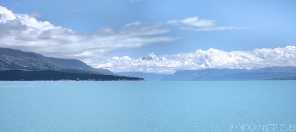 Peak of Aoraki Across Lake Pukaki HDR - Mount Cook National Park, Canterbury, New Zealand
