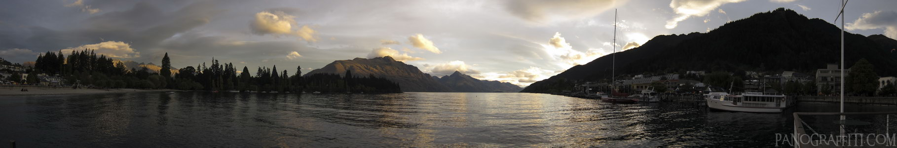Dusk Across Lake Wakatipu - Queenstown, Otago, New Zealand