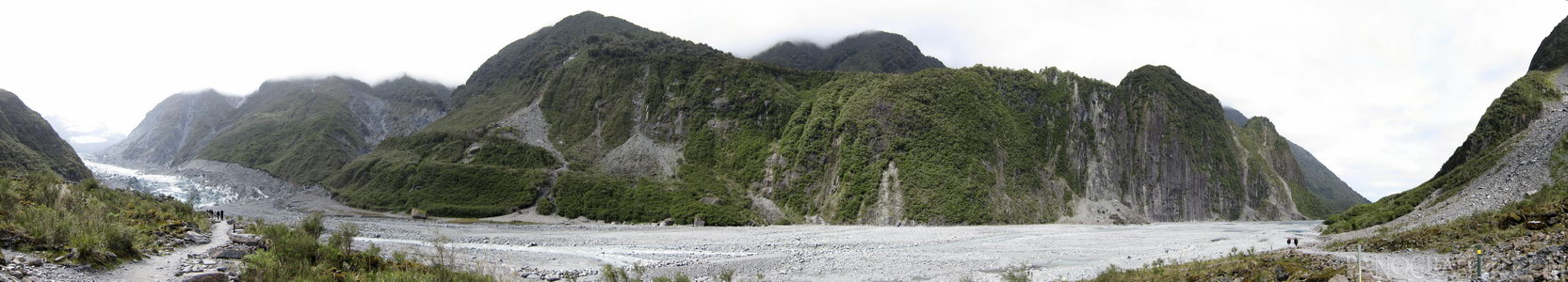 Fox Glacier Carve - The terminus of Fox Glacier at the end of the rock path it has left behind during receede