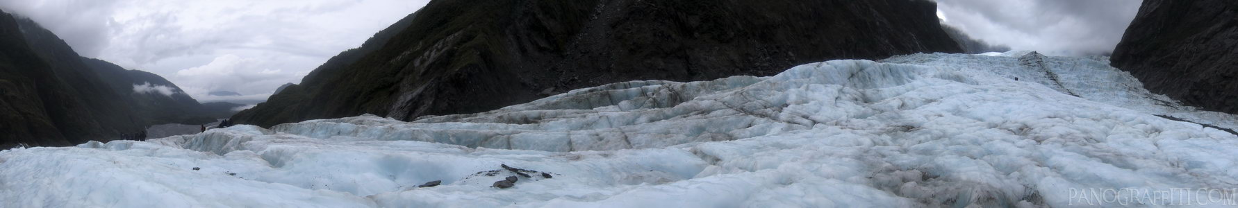 On Franz Josef Glacier - A 180 degree view looking up and down Franz Josef Glacier