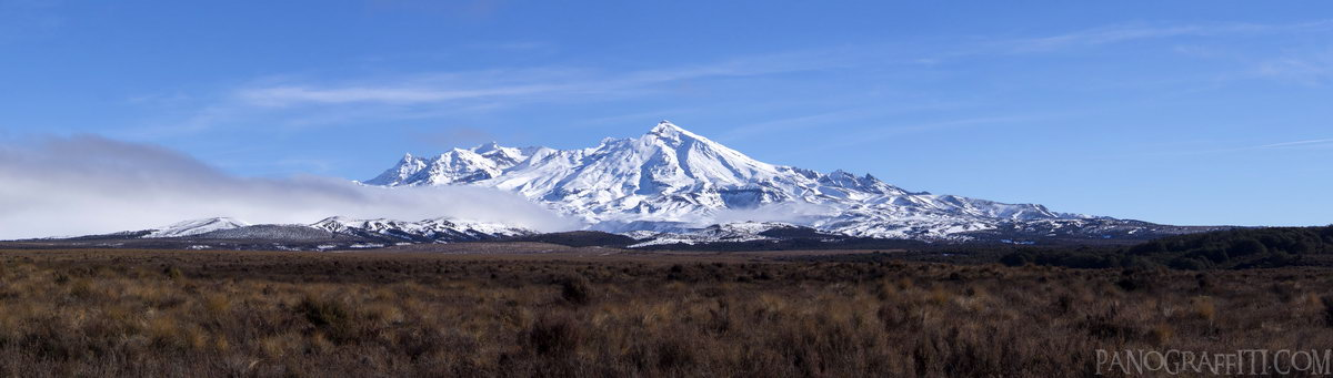 East Face of Mt Ruapehu - Looking west towards Mount Ruapehu from the Desert Road