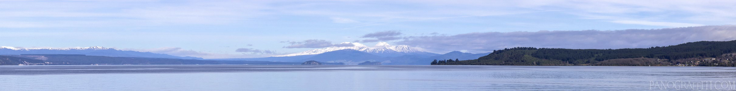 Mt Ruapehu and Ngauruhoe Across Lake Taupo - Lake Taupo, Taupo, Waikato, New Zealand