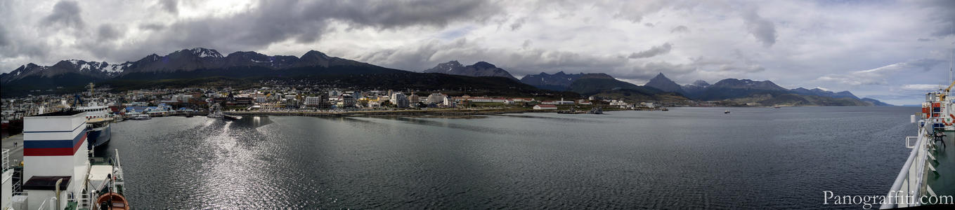 Ushuaia Harbor from the Akademik Ioffe - Looking back into Ushuaia and the Martial Mountain Range from the top deck of the Akademik Ioffe