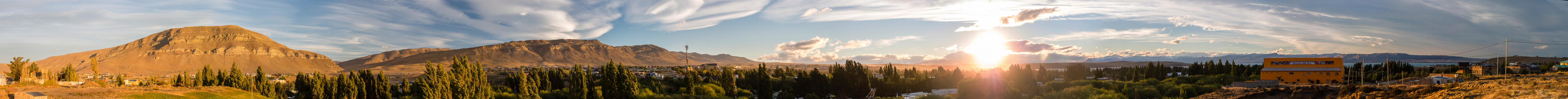 El Calafate Town Sunset - A full 360 degree view of the mountains basked in sunset above the town of El Calafate