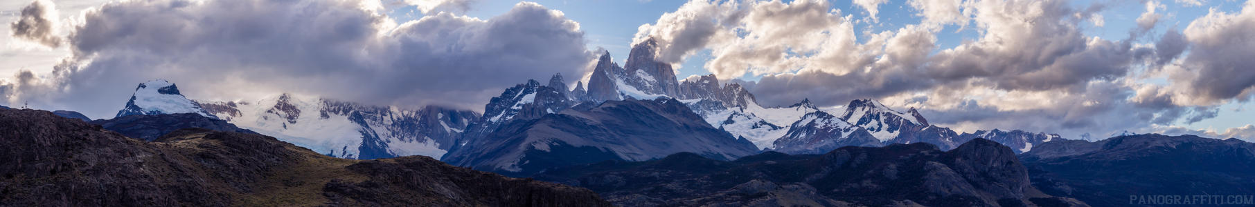 Fitz Roy from Las Aguilas - View of Fitz Roy far off in the distance surrounded by clouds