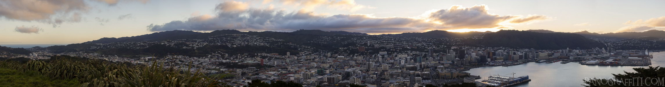 Wellington City and Harbour Just Before Sunset - Mount Victoria, Wellington, New Zealand