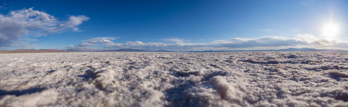 Close up of Salinas Grandes - The vast expanses of the Salinas Grandes are even more exagerated from ground level