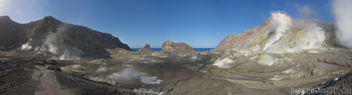 Whakaari Venting - From the center of the island you can see a number of vents each releasing sulfur fumes.  This landscape is constantly evolving with vents opening and closing over time.