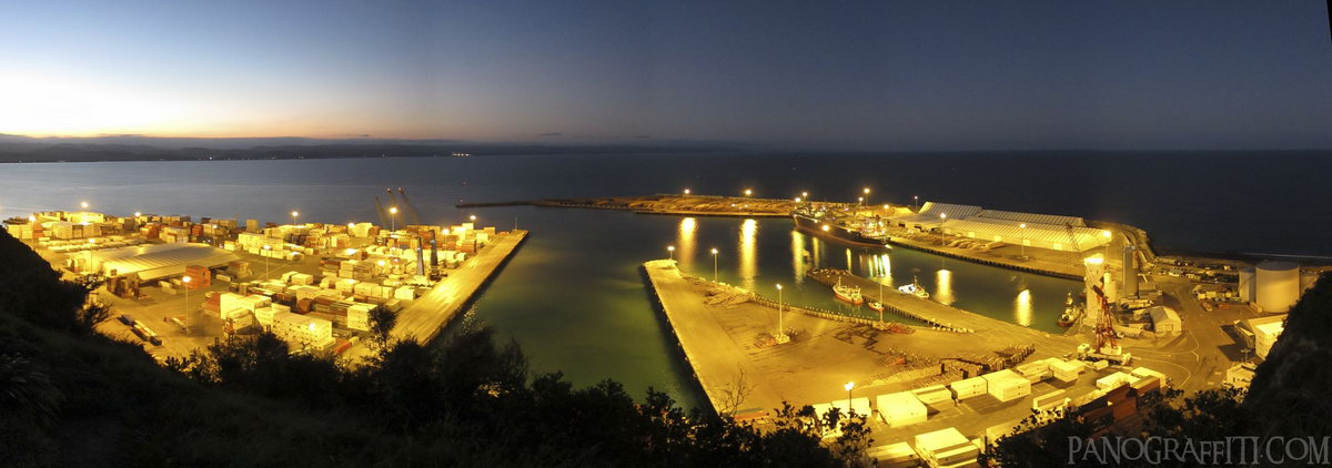 Port of Napier from Bluff Hill at Night - Hawke's Bay, New Zealand